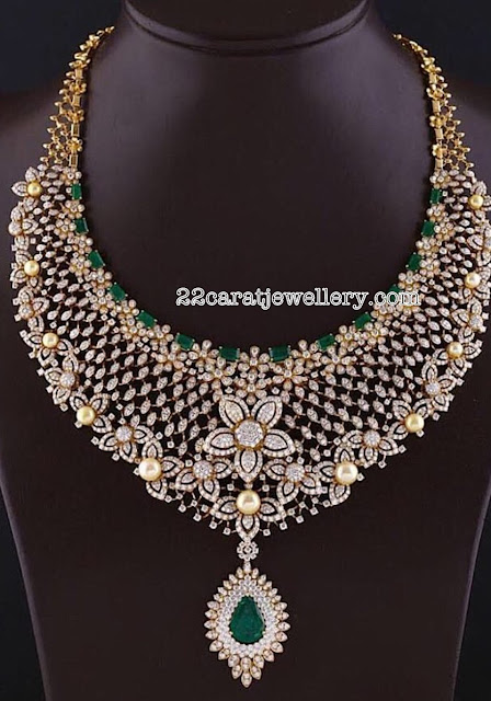 South Pearls Studded Grand Diamond Sets