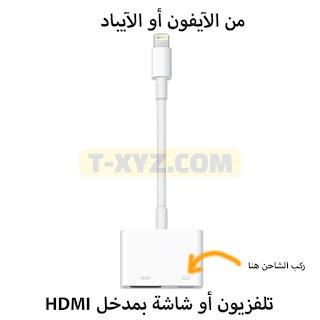 طريقة عرض شاشة آيفون - آيباد على التلفزيون أو شاشة الكمبيوتر HDMI