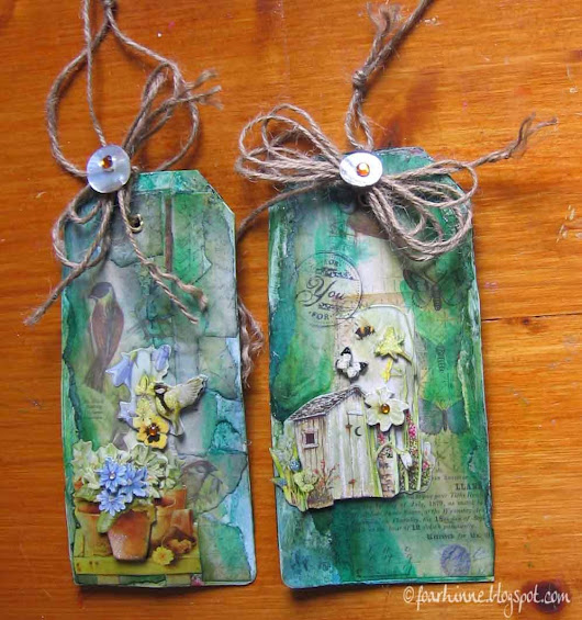 It's spring: mixed media tags