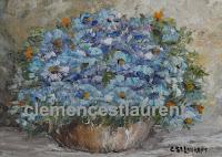 Pervenche, huile 5 x 7 par Clémence St-Laurent - bouquet de petites fleurs bleues dans un vase large