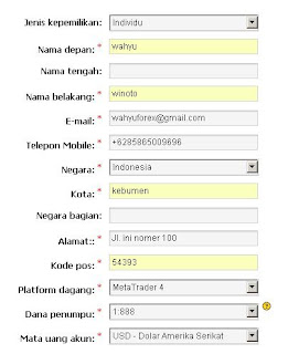 Lengkapi form registrasi