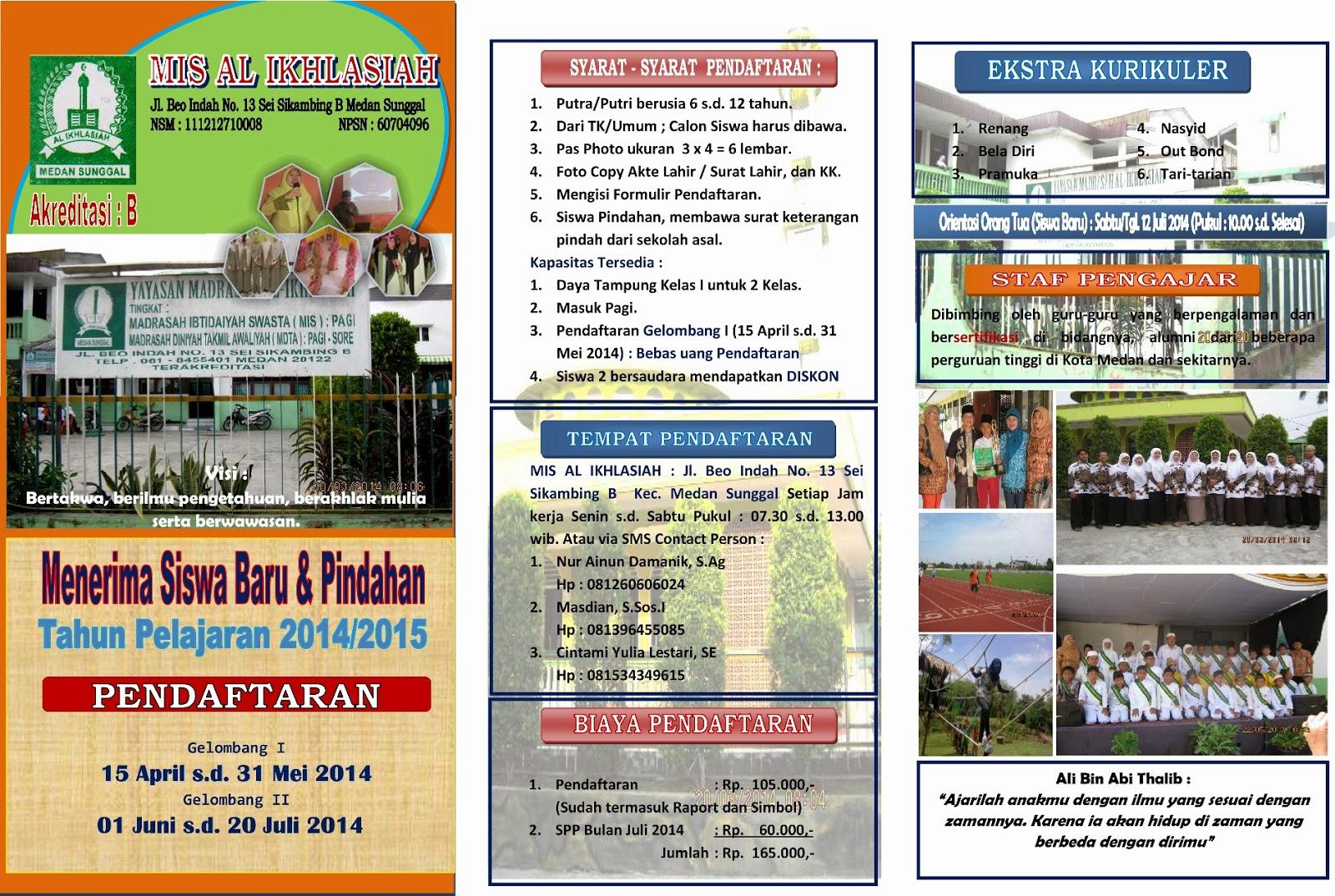 Mi Swasta Al Ikhlasiah Contoh Brosur Ppdb Tp 2011 S D 2014