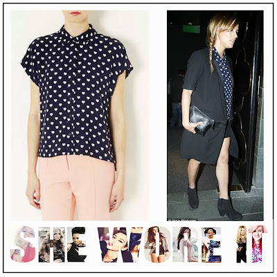 Caroline Flack, Topshop, Navy Blue, White, Heart Print, Shirt, Pocket, Collar