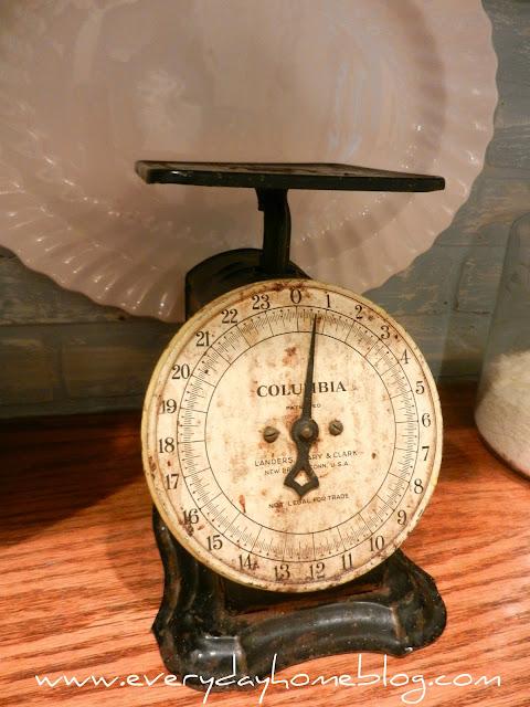 antique scale, antique kitchen scale, kitchen scale, kitchen,white kitchen, white cabinets, corbels, faux, backsplash, brick, paint, Annie Sloan Chalk Paint, faux brick