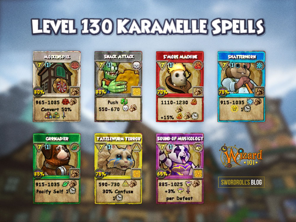 Wizard101 Level 130 Karamelle Spells