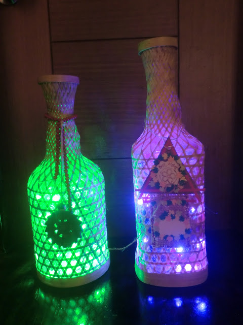 Bottle Lamps with Handmade Tags