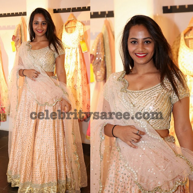 Light Peach Glitter Lehenga
