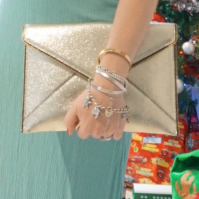 mint dress and mixed metal bracelet stack with Rebecca Minkoff Leo envelope clutch in champagne gold | away from blue
