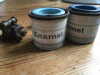to tiny pots of blue Enamel paint used for HMS Bounty model ship created by Jan Duyn