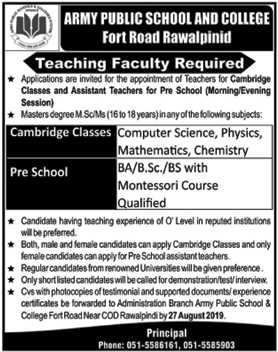 Advertisement for Army Public School and College Rawalpindi Jobs