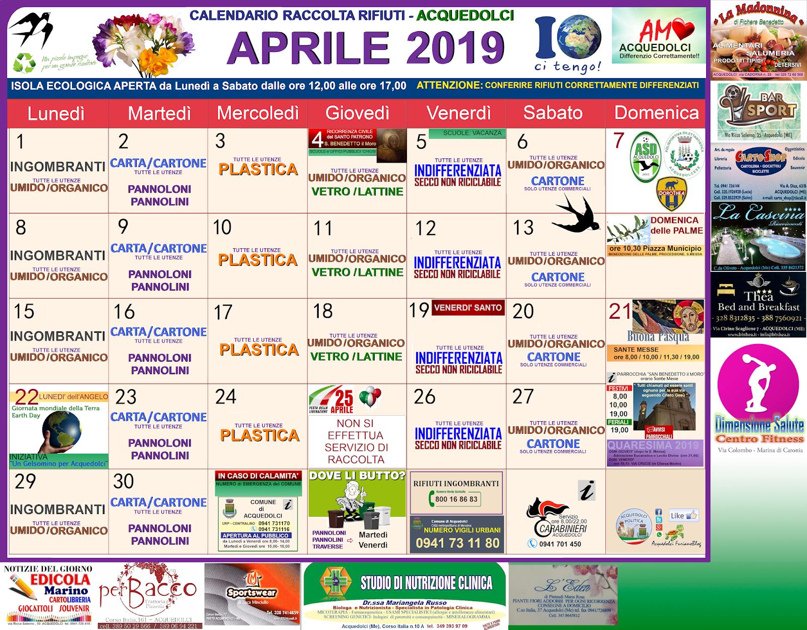 Calendario Raccolta Differenziata Sanremo.Rifiuti Calendario Del Mese Di Aprile 2019