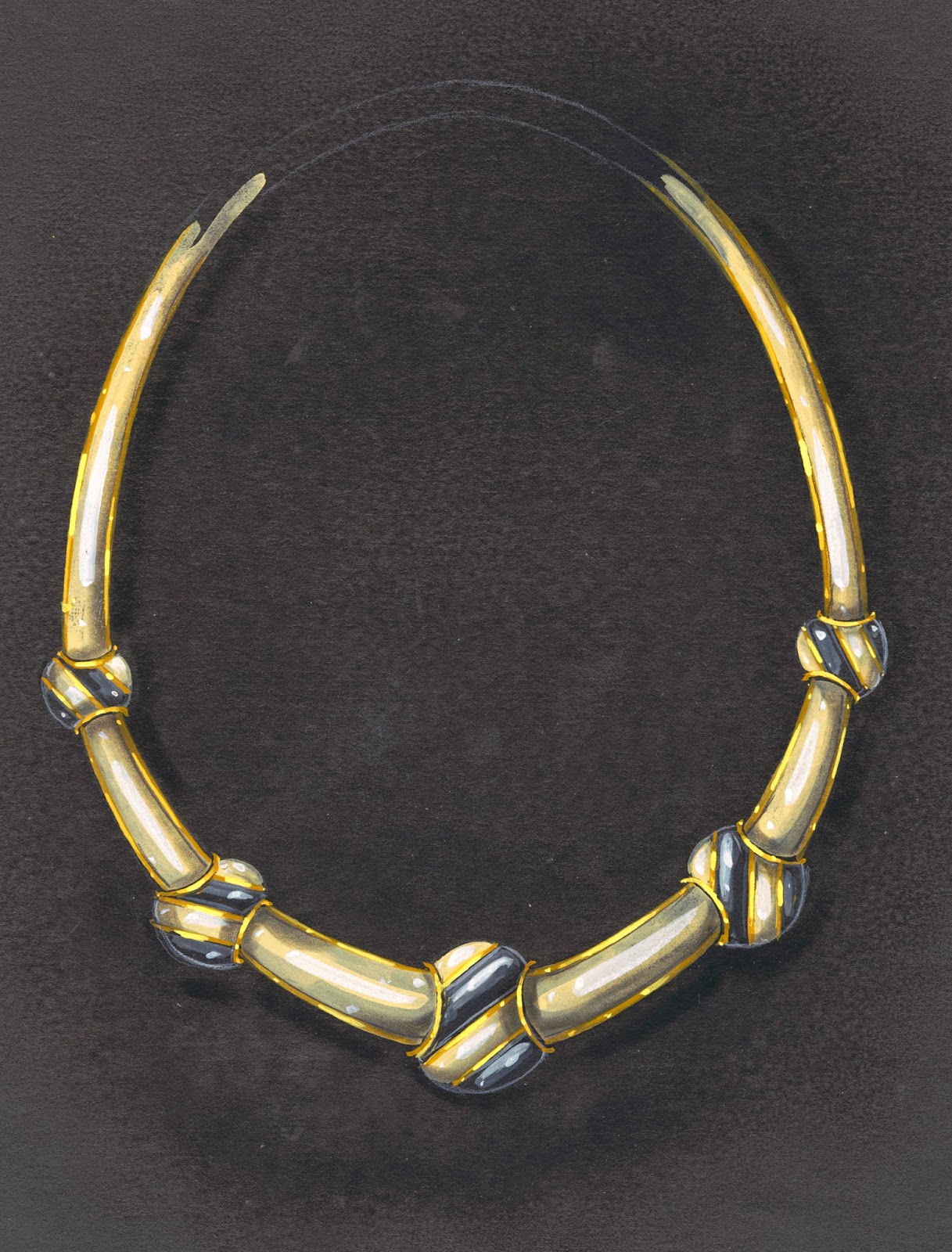 A color drawing of a necklace.