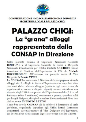 Comunicato CONSAP Palazzo Chigi  del 16 Settembre 2019