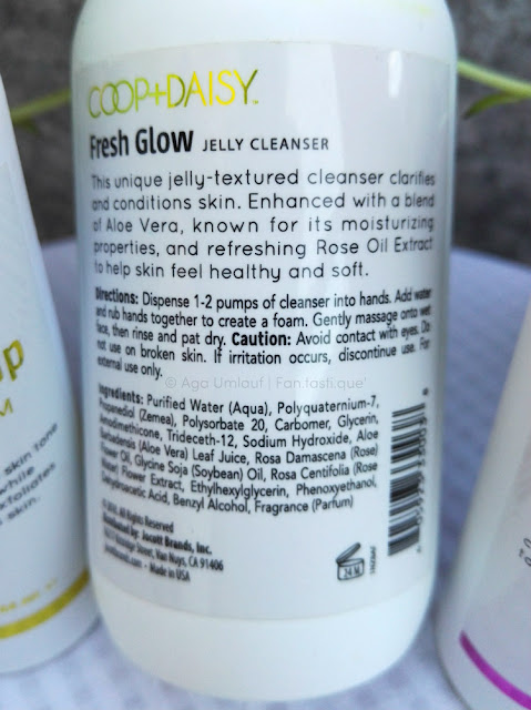 the label on the back of the COOP+DAISY fresh glow jelly cleanser bottle showing the ingredients and directions