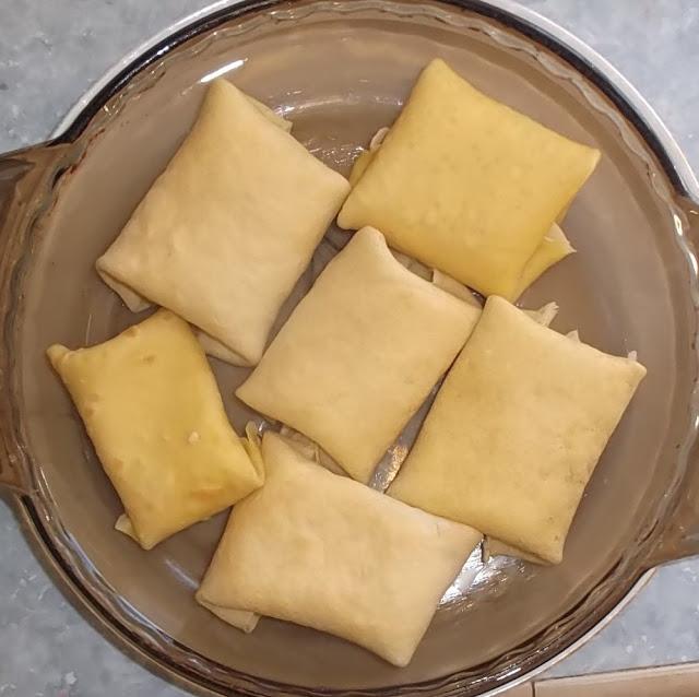 blintzes in baking dish ready to bake