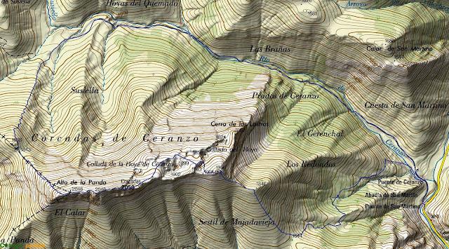 Mapa con la ruta señalizada al Pico Corcadas.