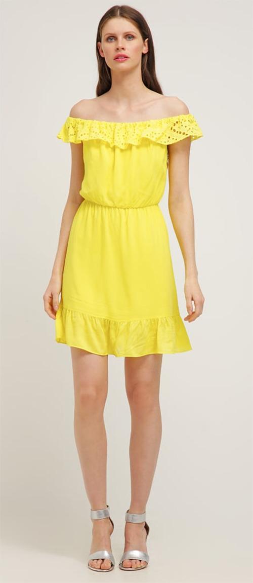 Robe courte d'été jaune Naf Naf