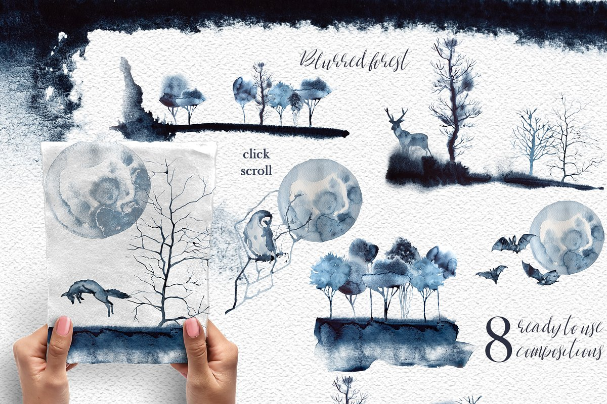 Watercolor Blurred Forest Clipart (PNG)