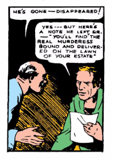 Action Comics (1938) #1 Page 4 Panel 5: The Governor and his butler read Superman's note explaining who the bound woman on the Governor's lawn is.