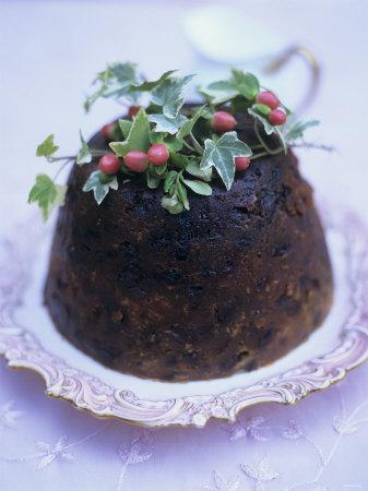 English Christmas Pudding on Silver Plate