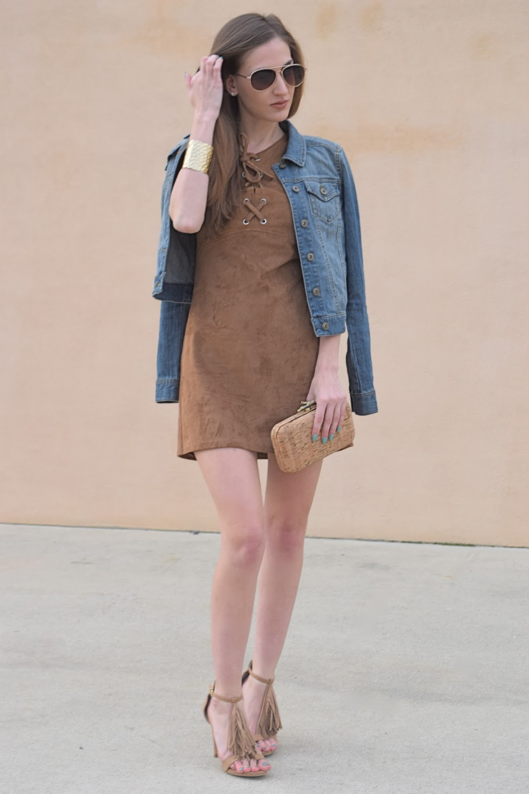 wearing express suede lace up dress, wearing express fringe tassel suede heels, express dress