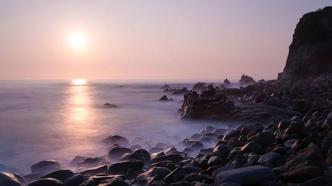 Paisagem, Pôr do Sol, Mar, Rochas, Nevoeiro