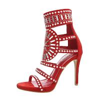 Sandale trendy, de culoare rosie, cu detalii contrastante
