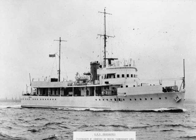 HMS Grasshopper, sunk on 14 February 1942, worldwartwo.filminspector.com