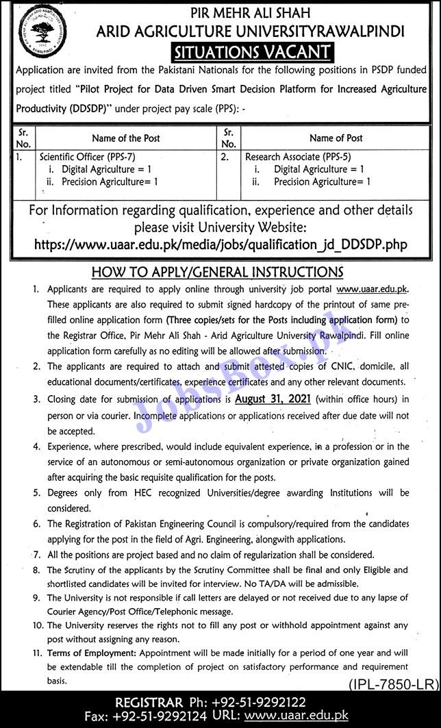 Pir Mehr Ali Shah ARID Agriculture University Rawalpindi Jobs 2021