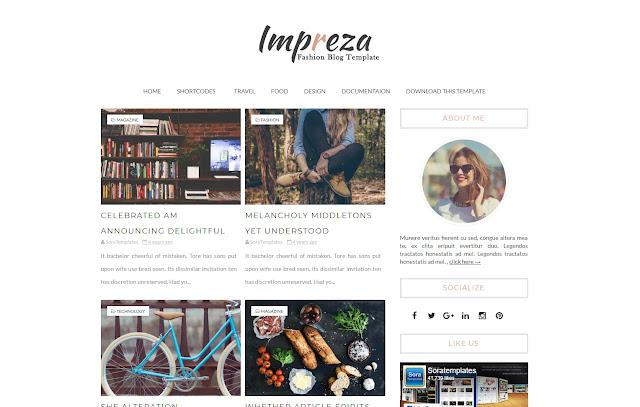 Impreza Responsive Personal Blog Girl Blog Lifestyle Diary Sites Fashions Tutorial Blogger Template Theme