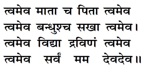 Tvameva Mata Cha Pita Twameva Lyrics in Hindi | Hindu Blog