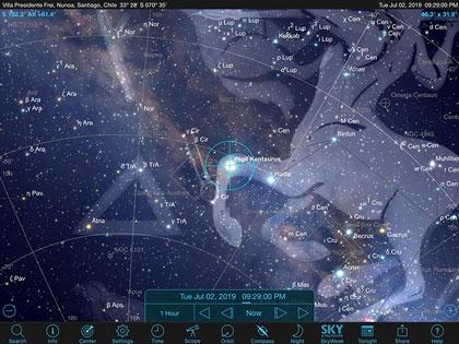 Sky Safari Pro screenshot showing sky location of Alpha Centauri in Santiago, Chile (Source: Palmia Observatory)