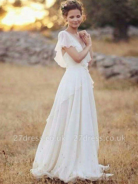 Ruched Floor-Length A-Line V-neck Short Sleeves Wedding Dresses UK
