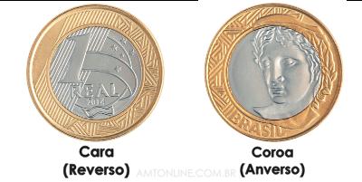 moeda lado cara lado valor lado coroa com figura rosto face