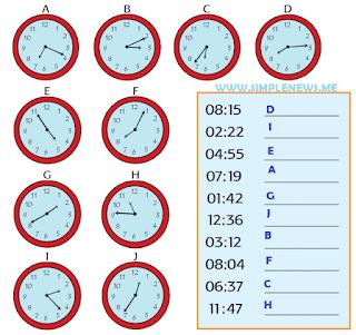 Lanjutkan dengan memasangkan jam berikut ini!