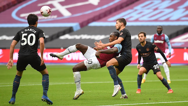 West Ham forward Michail Antonio scores overhead kick against Man City