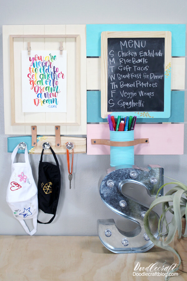 Set up the command station in the entryway, mudroom or over the desk. Get organized at home with a menu, motivational quote, mask holder for quick errands out, and some office supplies.