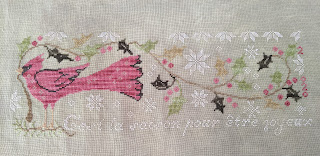 Tis the Season cross stitch from Blackbird Designs, red cardinal holding holly in beak
