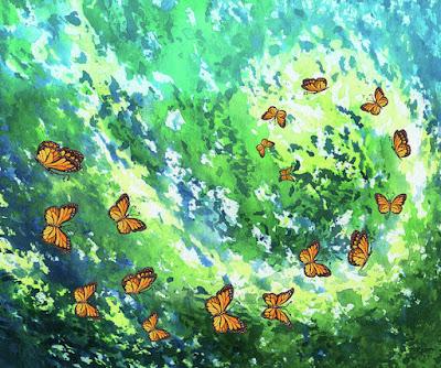Butterflies Vortex Watercolor Illustration Pattern for Merchandise Bestselling