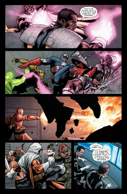 Vision and Bishop fighting each other and Captain America beats Bishop.