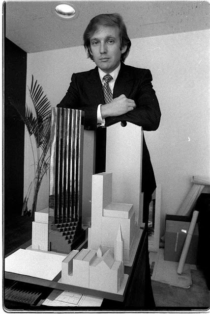Donald Trump with model of Trump Tower in 1980, randommusings.filminspector.com