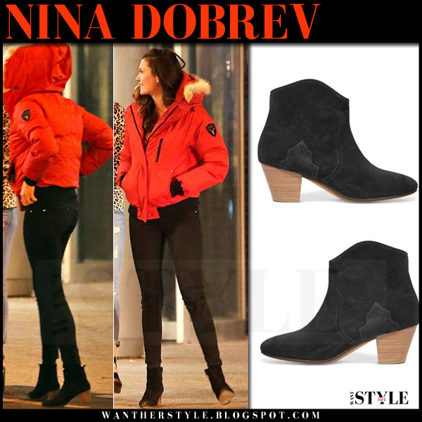 Nina Dobrev in red puffer jacket, black skinny jeans and black isabel marant dicker ankle boots what she wore