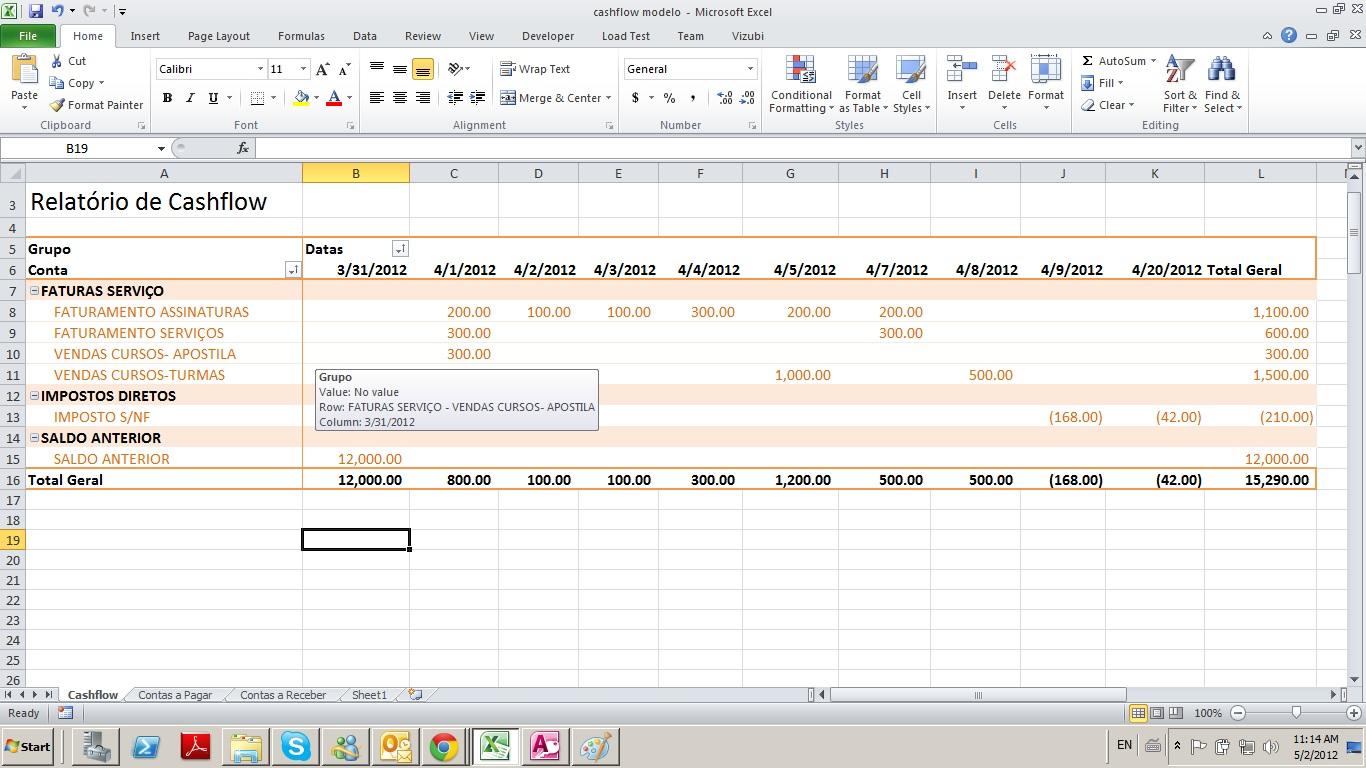 mapa cash flow BI Executivo   Serviços e Produtos de BI: Maio 2012 mapa cash flow