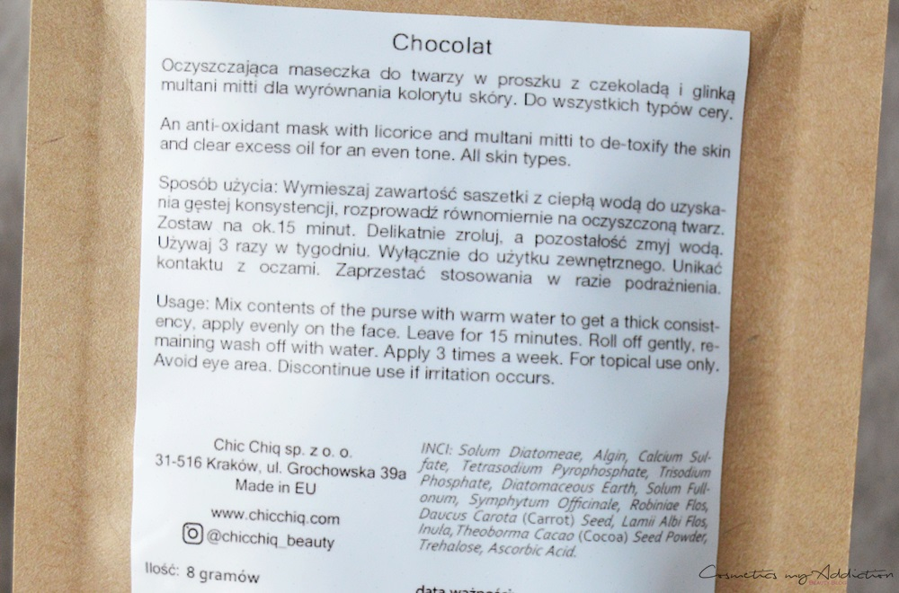 Chic chiq - de la Mer, maska algowa. chocolate, a la rose