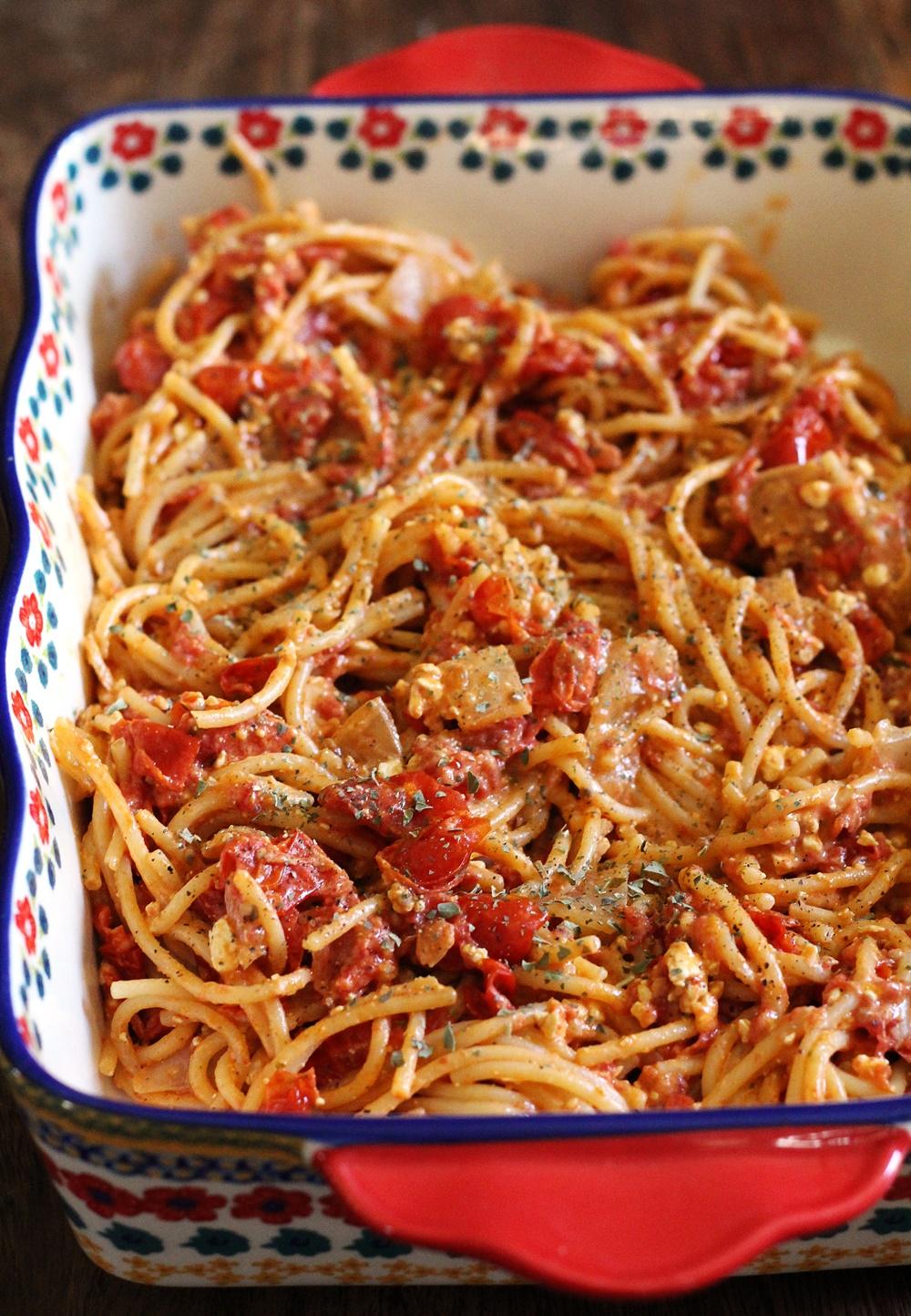 Tomato, Cream Cheese and Feta Pasta (A Twist on the Tik Tok Pasta)