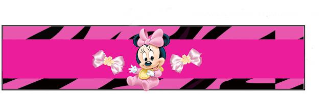 Minnie Bebé en Cebra Rosa: Etiquetas para Candy Bar para Imprimir Gratis.