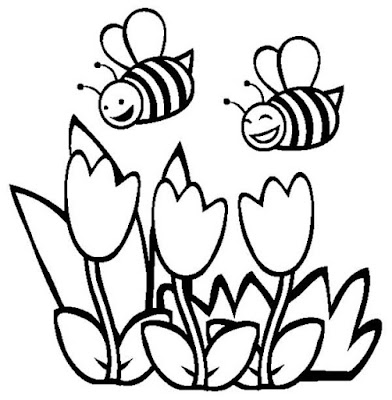 Printable Bee And Flower Coloring Pages