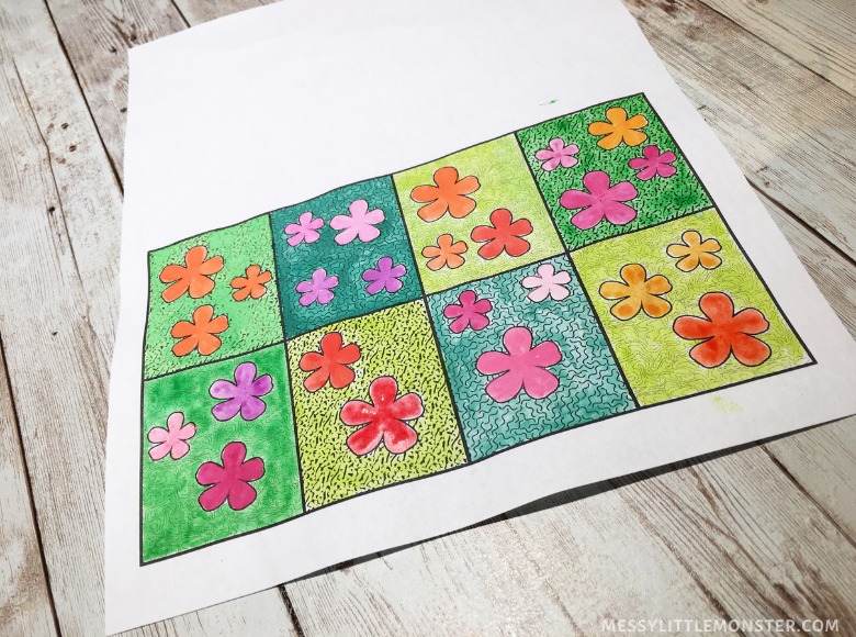 Andy Warhol flower art for kids