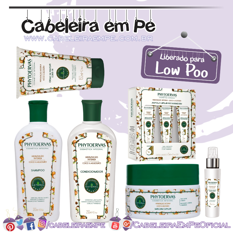 Shampoo, Condicionador, Máscara, Protetor Térmico, Ampola e Shampoo a Seco Hidratação Intensa Coco e Algodão - Phytoervas (Low Poo)
