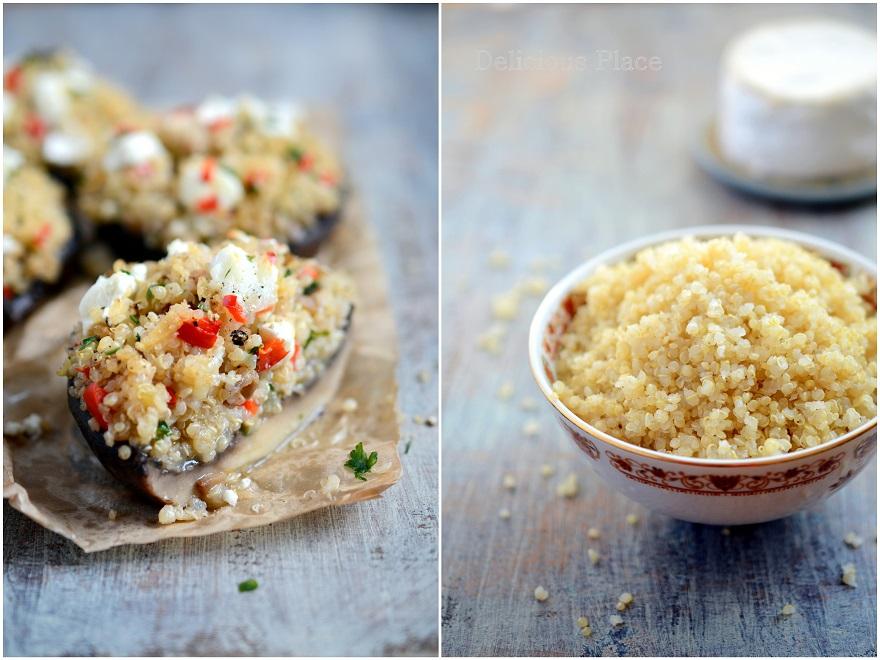 Pieczarki portobello faszerowane quinoą